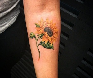 tattoo, sunflower, and flower image