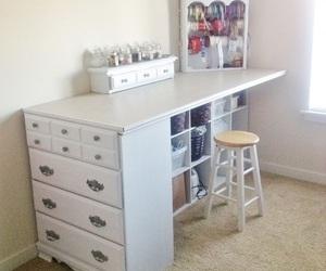 cabinet, desk, and diy image