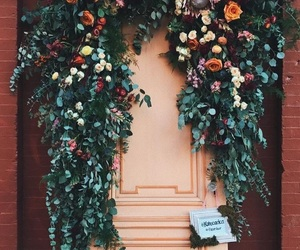 door, flowers, and photography image