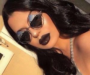girl, makeup, and sunglasses image