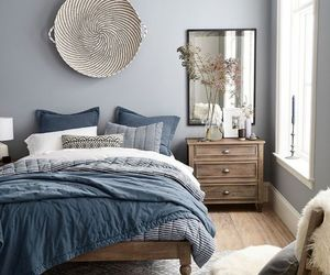 bedroom, blue, and interior image