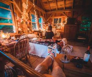bedroom, cabin, and she image