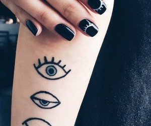 tattoo, black, and eyes image