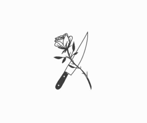 rose, knife, and red image