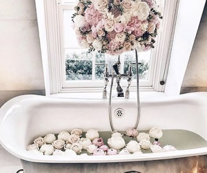 bath, flowers, and bathtub image