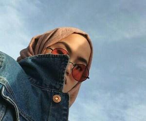 girl, hijab, and sky image