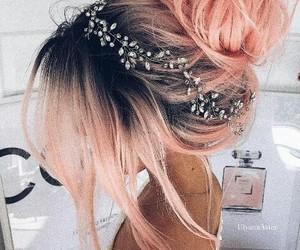 pink hair, wedding hairstyle, and boho image