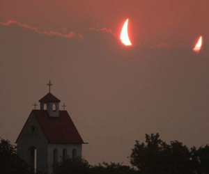 Devil, church, and moon image