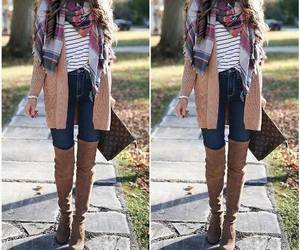 backpack, outfit, and cardigan image