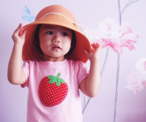 children, cute, and strawberry image