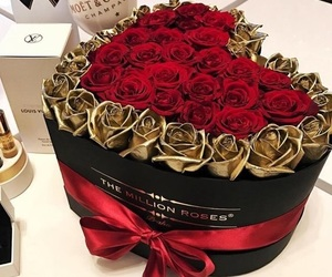roses, flowers, and gold image
