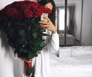 rose, flowers, and girl image