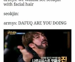 army, seokjin, and facial hair image