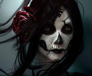 skull, art, and rose image