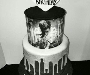 birthday, black and white, and cake image