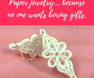 handmade earrings, normal is boring, and paper jewelry image