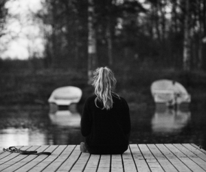 black and white, alone, and sad image