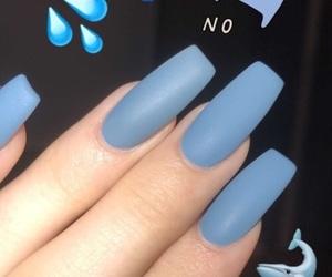 blue, nails, and snapchat image