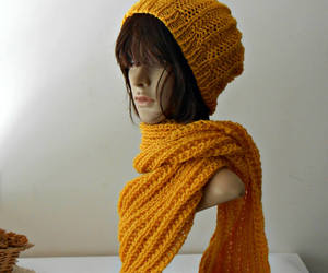 wool hat, long scarf, and etsy image