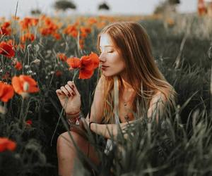 flowers, girl, and photo image
