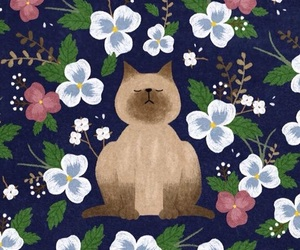 wallpaper, cat, and flowers image