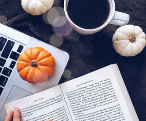 autumn, laptop, and book image