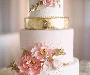 cake, wedding, and flowers image