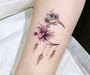 tattoo, flower, and moon image