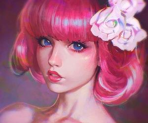 girl, pink, and anime image