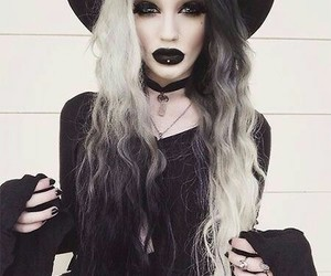 goth, black, and white image