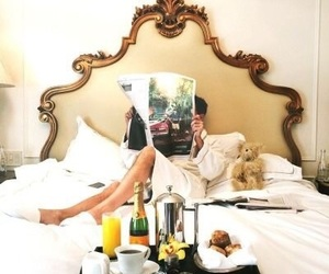breakfast, bed, and luxury image