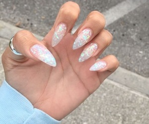 nails, acrylic, and glitter image