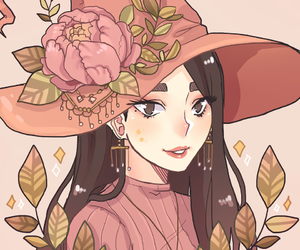 witch, art, and flowers image