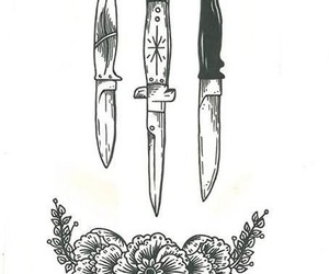 art, knife, and tattoo image