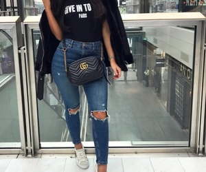 clothes, gucci, and distressed jeans image