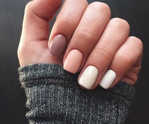nails, manicure, and sweater image