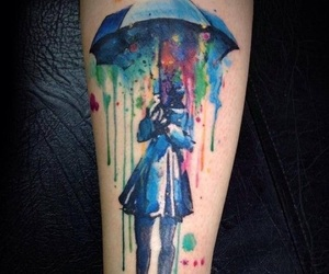 tattoo, umbrella, and rain image