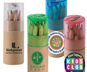 cardboard tube, printed color pencil, and custom colour pencil image