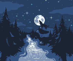 pixel, moon, and wolf image