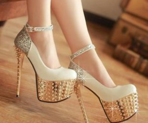 diamons, heels, and shoe image