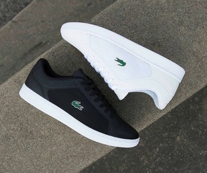 black, lacoste, and sneakers image