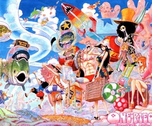one piece, fishman island, and strawhat pirates image