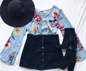 fashion, hat, and skirt image