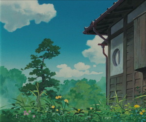 animation, clouds, and ghibli image