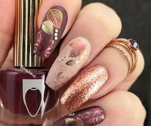 nails, rings, and fall nail art image