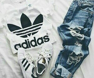 adidas, boyfriend jeans, and jeans image