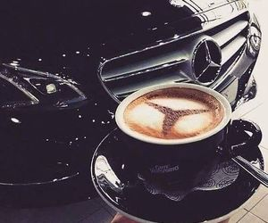 car, mercedes, and coffee image