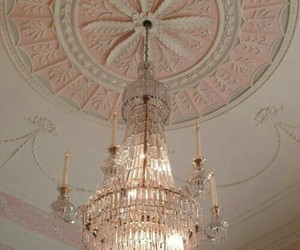 pink, chandelier, and aesthetic image