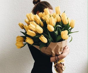 flowers, yellow, and girl image