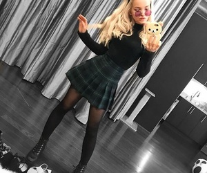 dove cameron, blonde, and outfit image